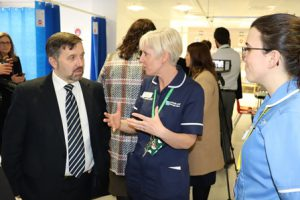 Minister Visit: Roisin Devlin and Nurse with Robin Swan