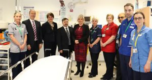 Minister Visit: Nursing staff, chairman and chief executive with Arlene Foster, Michelle O'Neil and Robin Swan