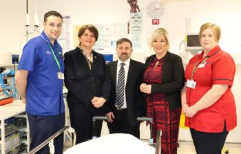 Minister Visit: Two Nursing staff with Arlene Foster, Michelle O'Neil and Robin Swan