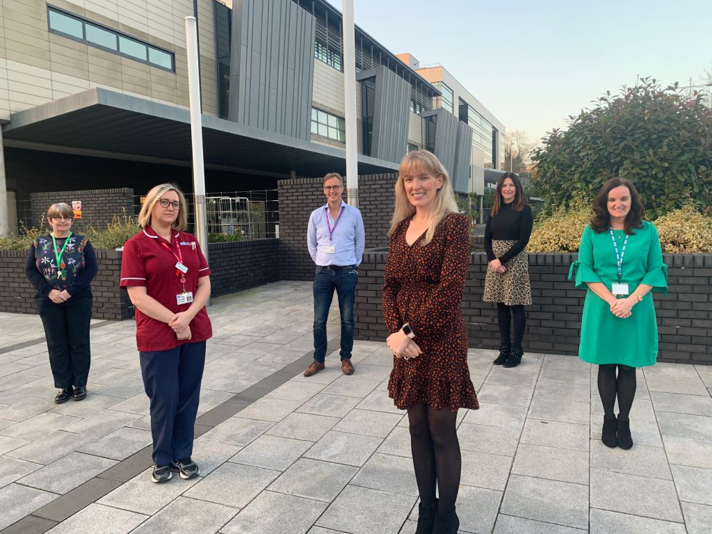 Picture shows L to R: Caroline Lynas, Macmillan: Gemma Bowman, Saracoma Clinical Nurse Specialist; Stephen Sinclair, Consultant; Leona Rankin, BOOM; Joanne Smith, Boom, MaryJo Thompson, Assistant Director of Cancer Services